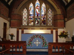 Altar without curtain behind